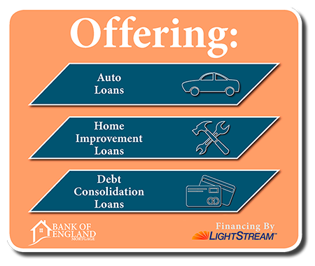 We also offer Auto Loans, Debt Consolidtion, and Home Improvement Loans through LightStream